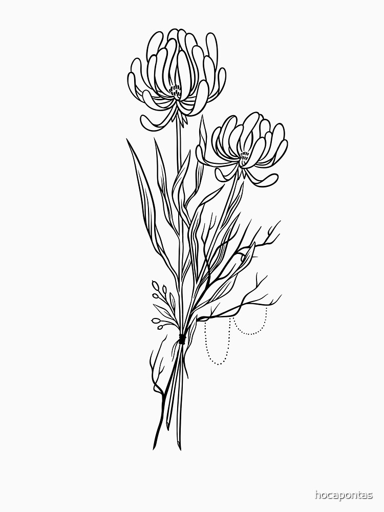 Flowers Lineart Tattoo Style // Black and White by hocapontas