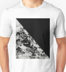Diagonal Black - Block black and black and white abstract T-Shirt
