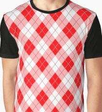 Hot Neon Red Large Argyll Plaid Check  Graphic T-Shirt
