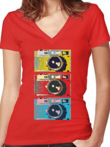 3 Leica M9s Women's Fitted V-Neck T-Shirt