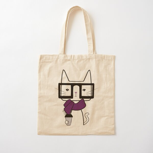 Hipster Cat Cotton Tote Bag