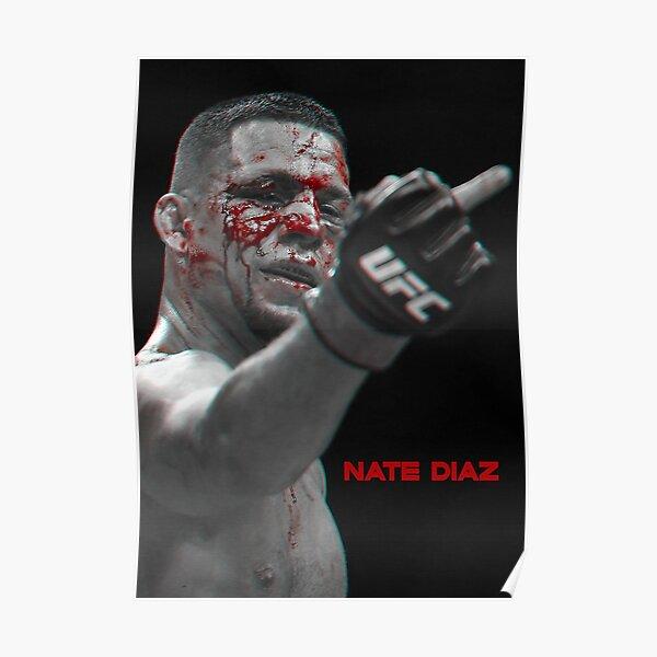 Nate Diaz Middle Finger BW Gift, T-shirt, sticker Nate diaz Poster Poster
