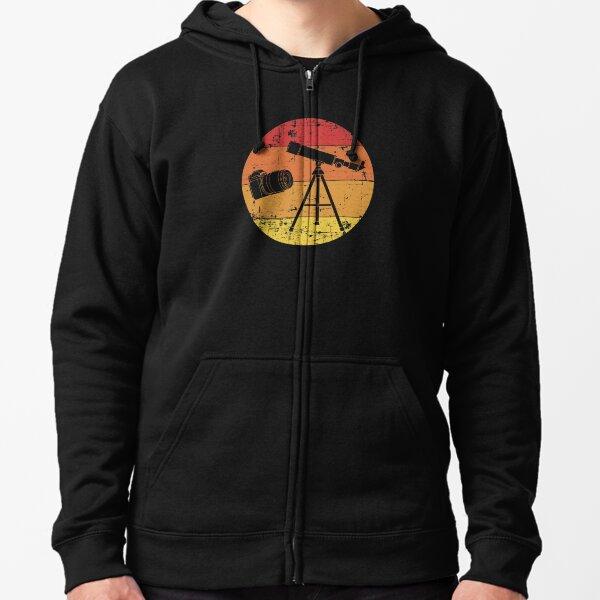 Retro Sunset Photographer Astrophotography print Zipped Hoodie