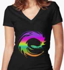 Colorful Eragon Dragon Women's Fitted V-Neck T-Shirt