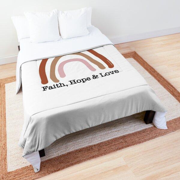 Faith Hope Love Rainbow 1 - a Scripture Verse Illustration - Christian Faith Based Art Comforter