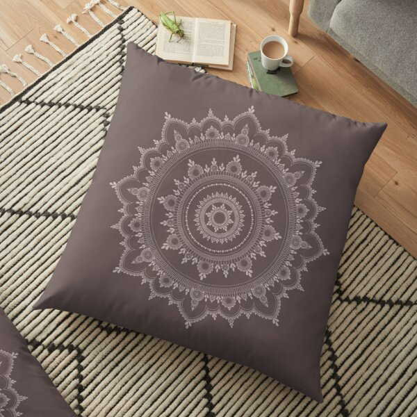 Neutral Toned Mandala Henna Design Henna by Masuma B Floor Pillow