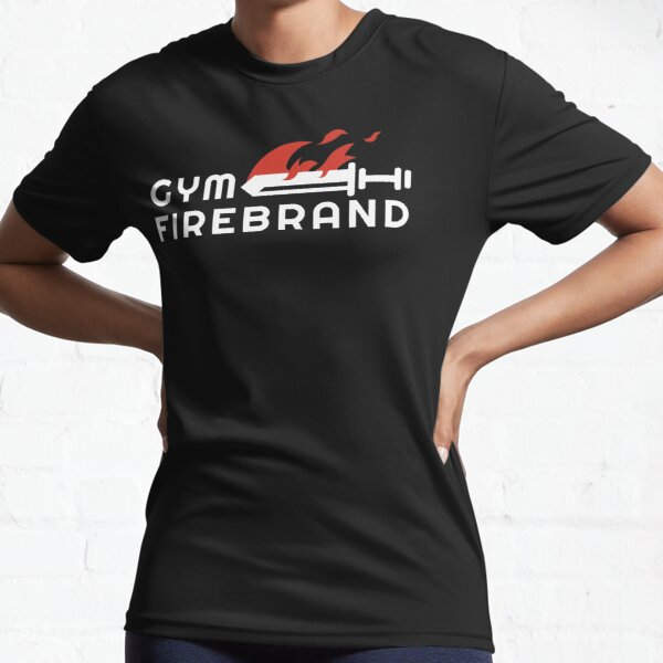 Gym Firebrand - White Mono logo with Flame Active T-Shirt