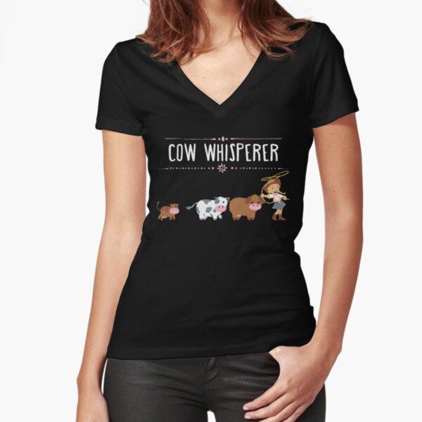 Cow whisperer Fitted V-Neck T-Shirt