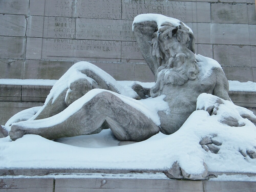 Statue After A Snow, Columbus Circle, New York City   by lenspiro