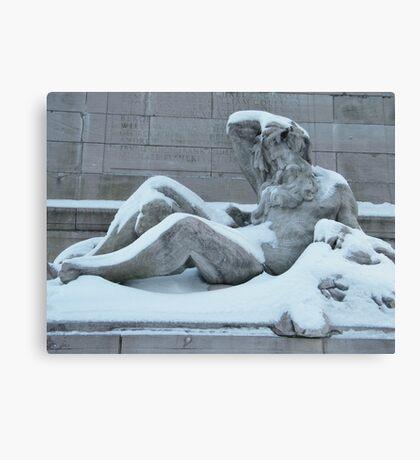 Statue After A Snow, Columbus Circle, New York City   Canvas Print