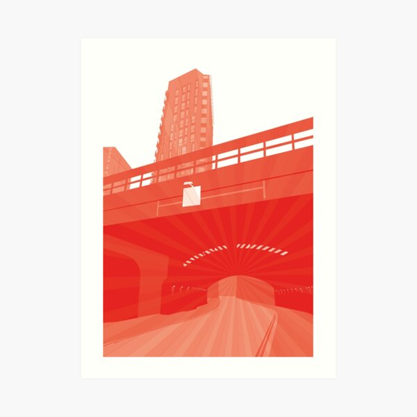 Bridge Momentum (red) Art Print
