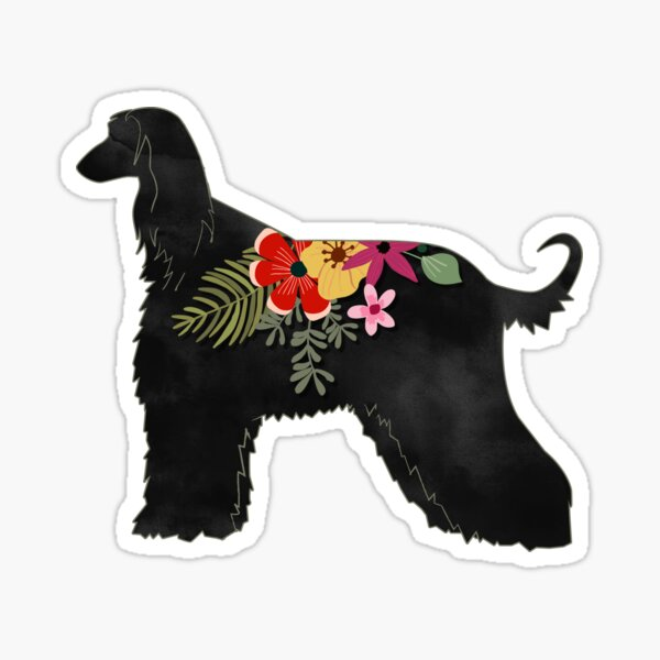 Afghan Hound Bohemian Floral Silhouette Sticker