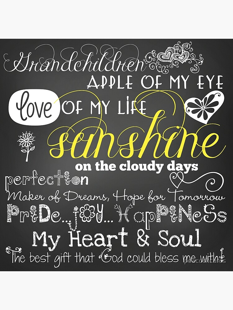 Grandchildren Love Of My Life Chalkboard Quotes by peacockcards
