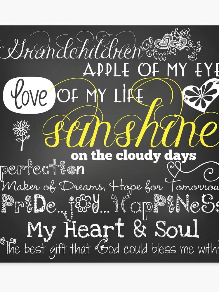 Grandchildren Love Of My Life Chalkboard Quotes   Canvas Print