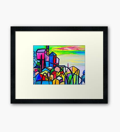 Rainbow Houses Framed Print