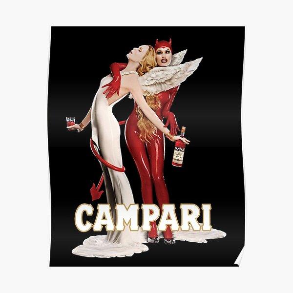 Affiche publicitaire d'apéritif italien Vintage Campari Angel and Devil Poster