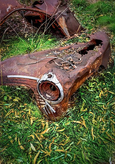 Rusted car fender laying in junk yard by Graeme Black