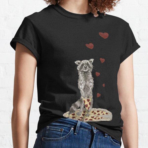 Raccoon Hearts Pizza Trash Panda Classic T-Shirt
