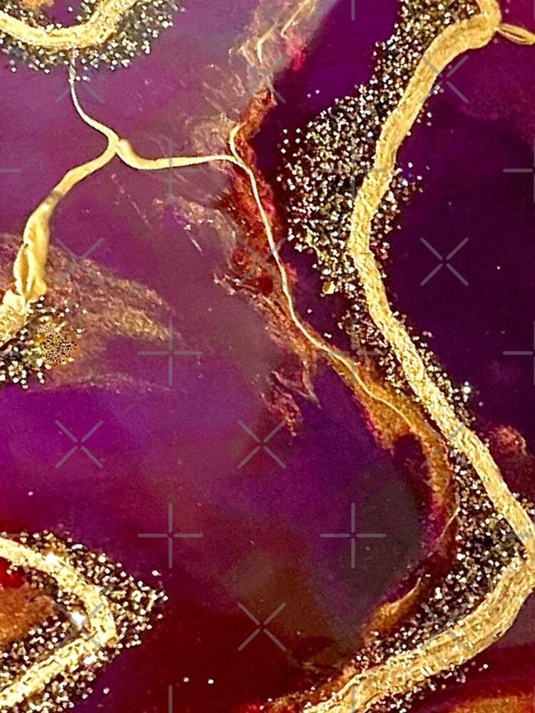 Burgundy Agate Resin Art by MamotaCreative