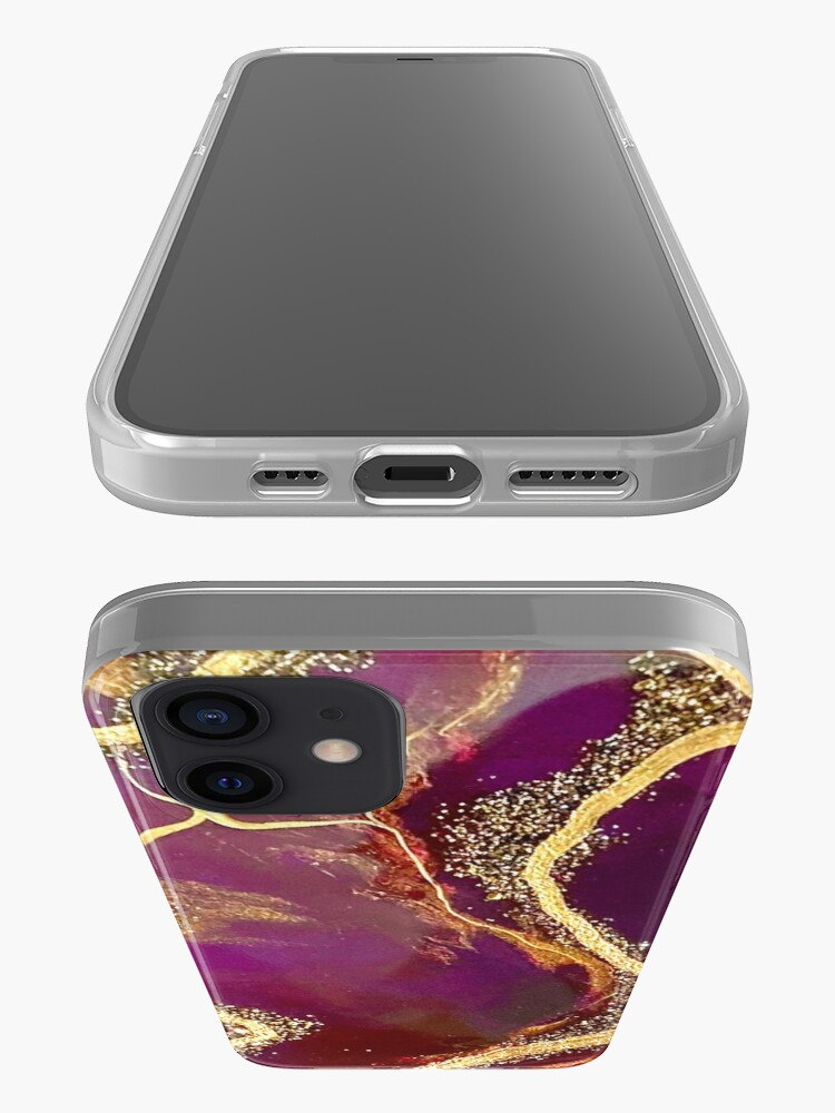 Alternate view of Burgundy Agate Resin Art iPhone Case & Cover