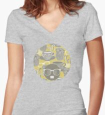 Tea owl yellow Women's Fitted V-Neck T-Shirt