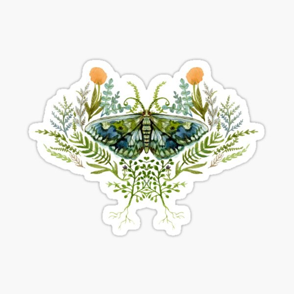 Moth with Plants Sticker