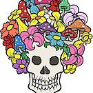 Skull with Afro Made of Flowers and Mushrooms by Brett Gilbert