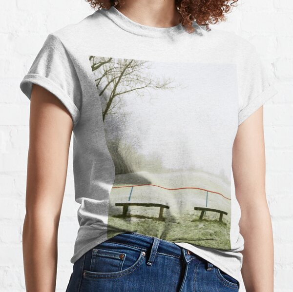 Four benches at the football field in winter, Piliscsev Classic T-Shirt