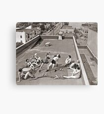 Women Boxing On Roof Canvas Print