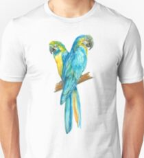 two yellow blue Ara parrots on a banch T-Shirt