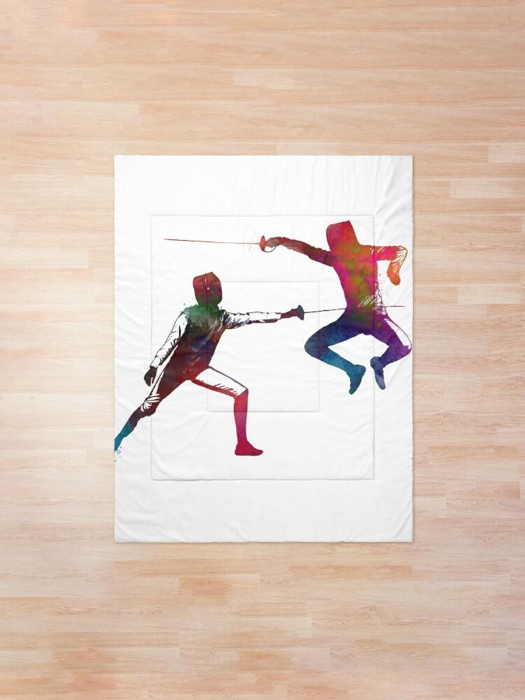 Alternate view of fencing sport art #fencing #sport Comforter