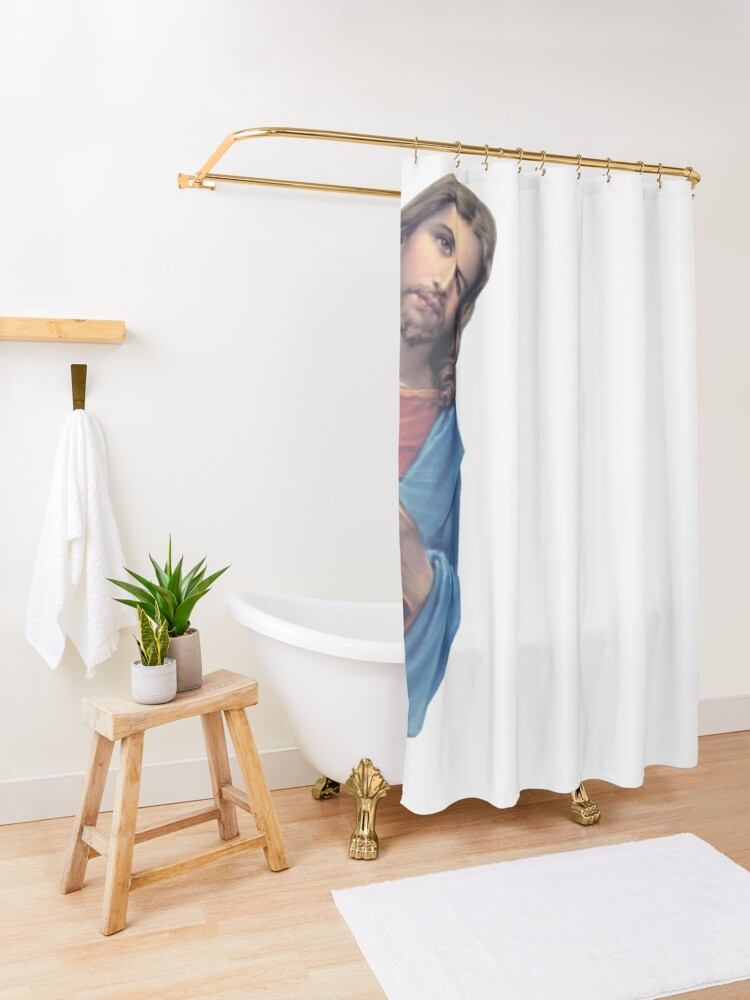 Alternate view of Jesus is watching you - meme Shower Curtain