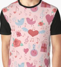 Valentine Background With Cute Love  Elements Graphic T-Shirt