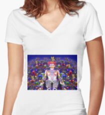 Robot Butterfly Women's Fitted V-Neck T-Shirt