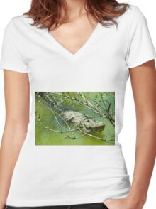 Alligator  Women's Fitted V-Neck T-Shirt