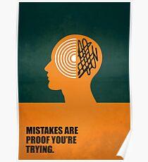 Fehler sind der Beweis, den Sie versuchen - Unternehmensstart-Anführungsstriche Poster