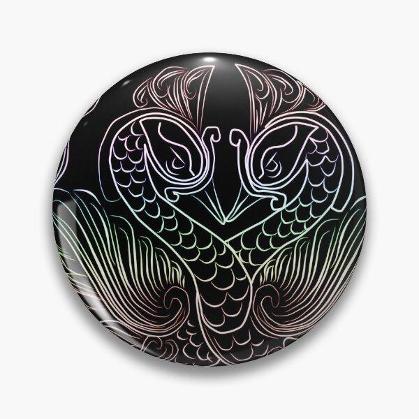 joli dessin au trait arc-en-ciel de paon Badge