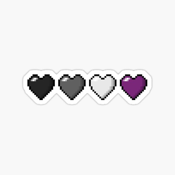 Asexual Pixel Hearts Sticker