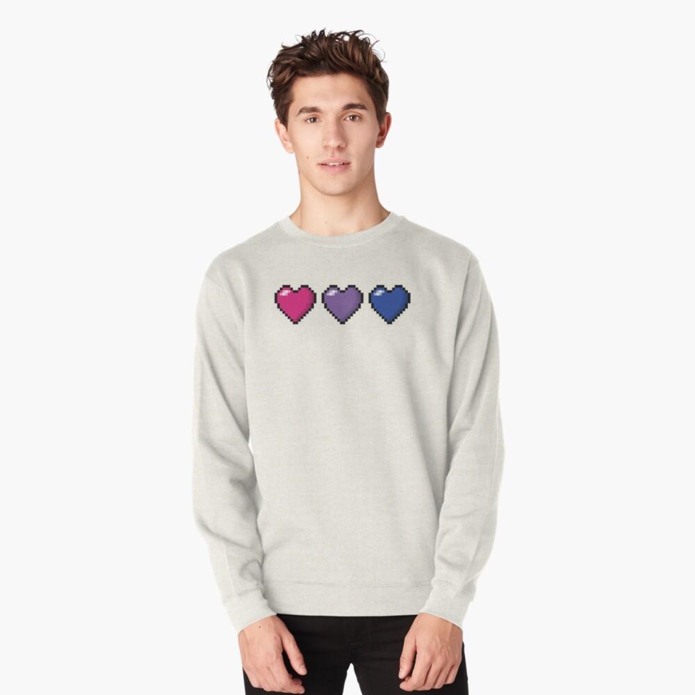 Bisexual Pixel Hearts Pullover Sweatshirt