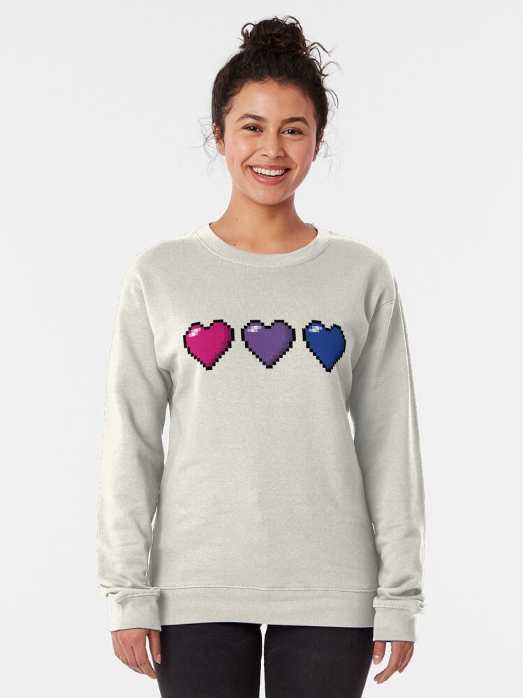 Alternate view of Bisexual Pixel Hearts Pullover Sweatshirt