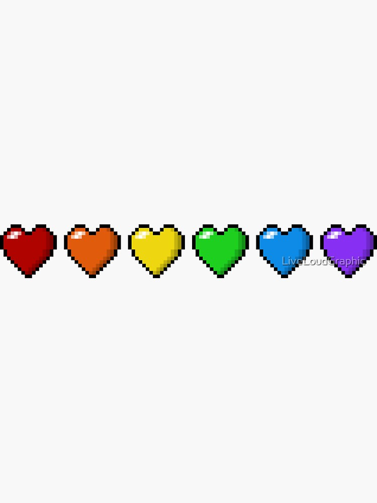 Rainbow Pixel Hearts by LiveLoudGraphic