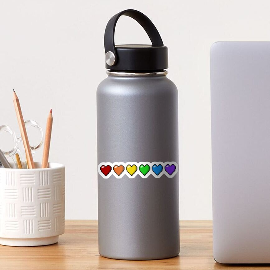 Rainbow Pixel Hearts Sticker