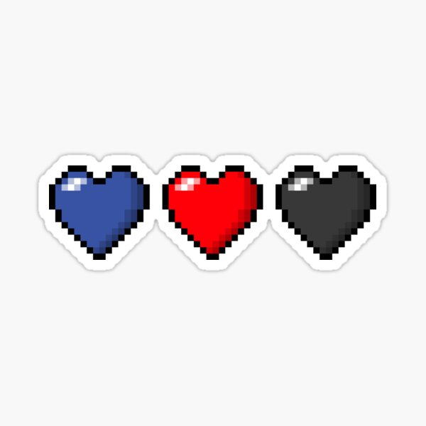 Polyamory Pixel Hearts Sticker