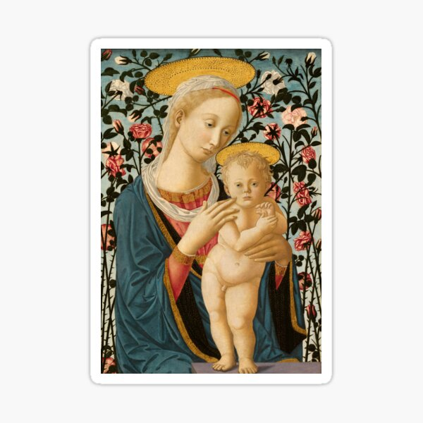 Madonna and Child Floral Painting, 15th Century Sticker