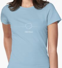 Cube Whale (outline) Women's Fitted T-Shirt