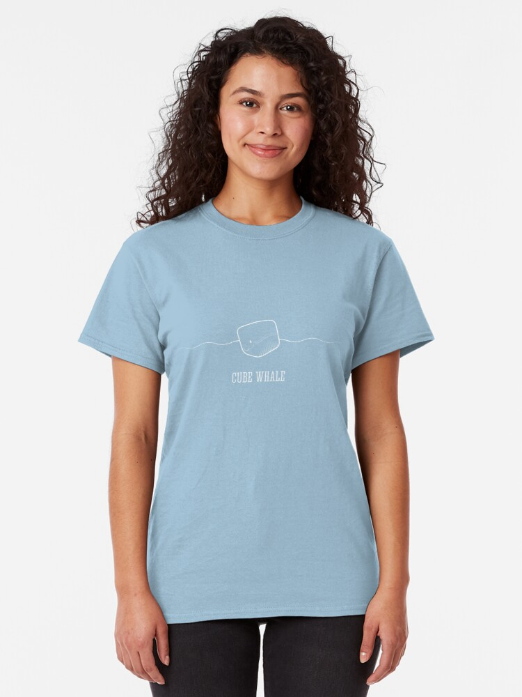 Alternate view of Cube Whale (outline) Classic T-Shirt