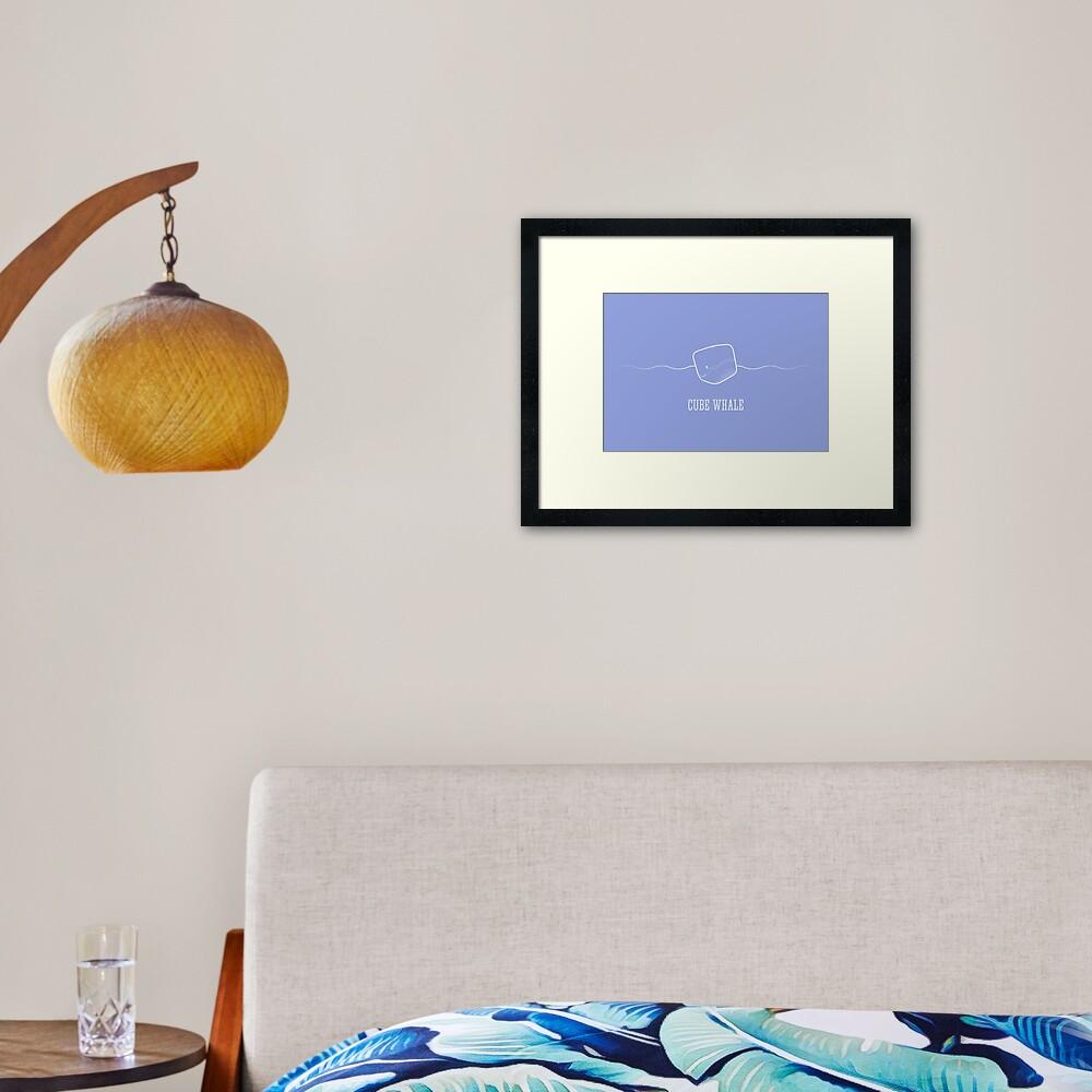 Cube Whale (outline) Framed Art Print