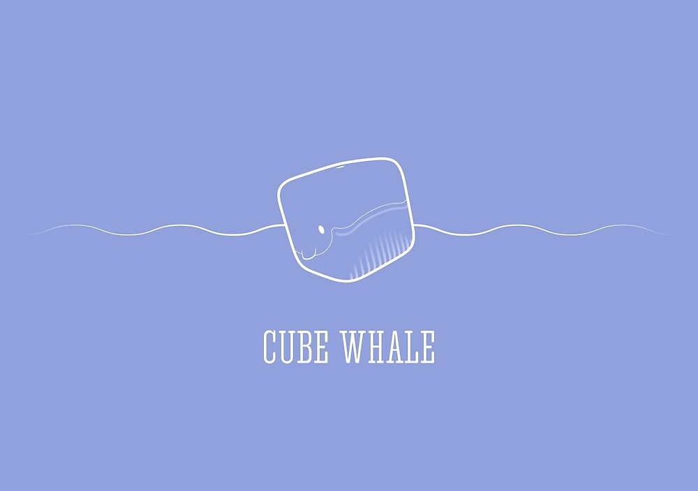 Cube Whale (outline) by Josh Bush
