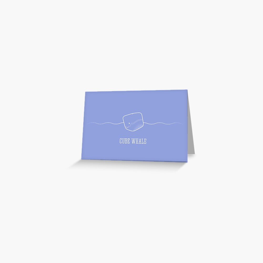 Cube Whale (outline) Greeting Card