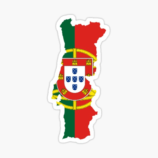 Flag Map of Portugal  Sticker
